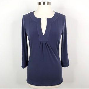 Ellie Kai Split Neck 3/4 Sleeve Top Blue Size 6